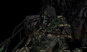 Render of Overgrown King. Skeleton sitting on a throne